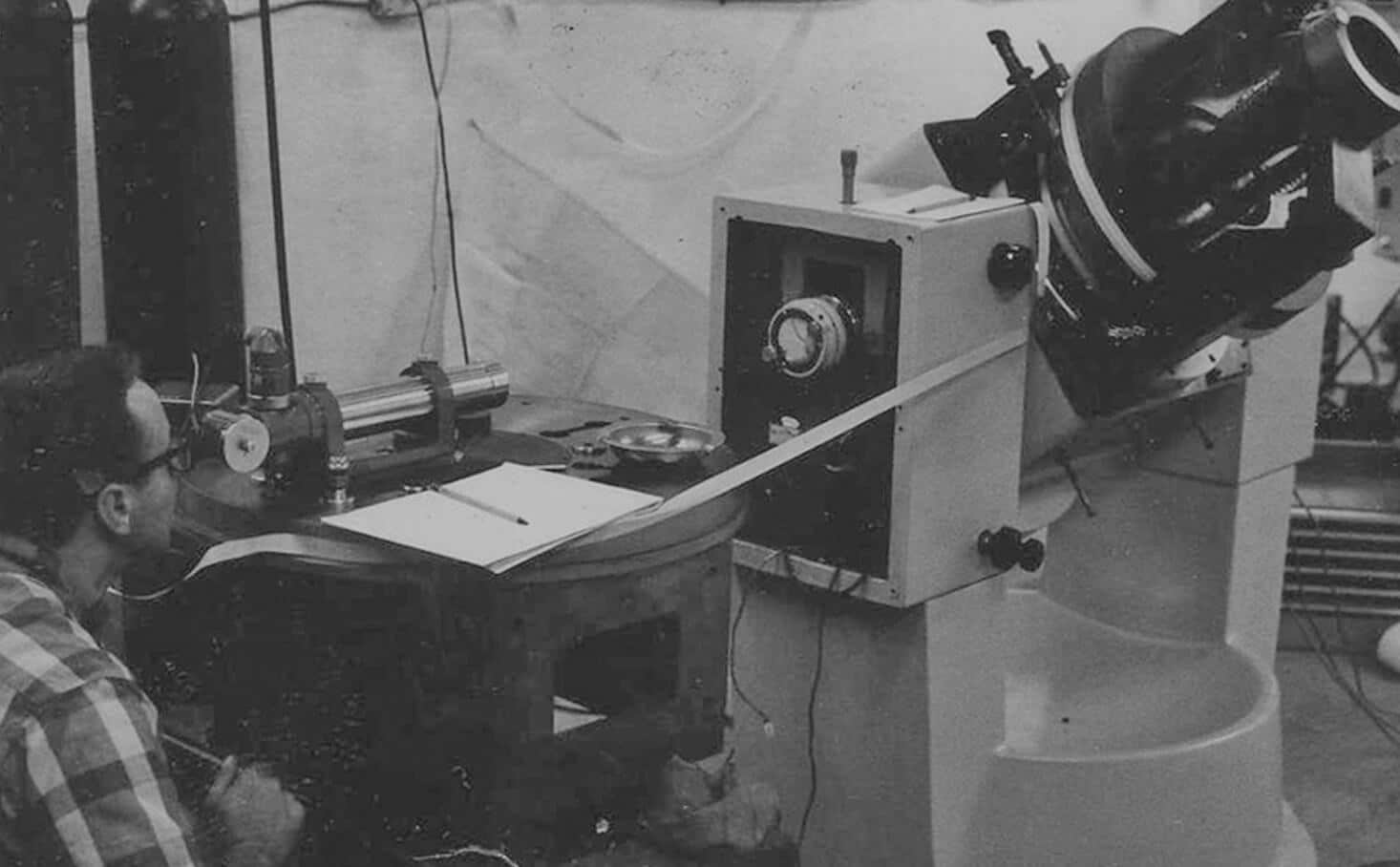 Founder Stephen J. Botos using an autocollimator to measure a system's performance, pre-Aerotech.